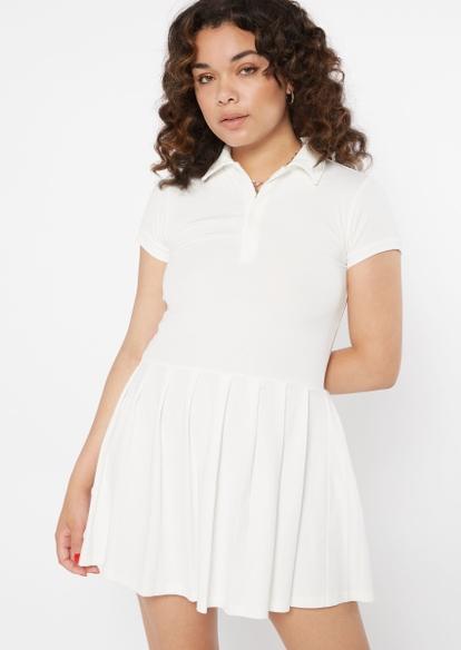 white pleated polo mini dress - Main Image