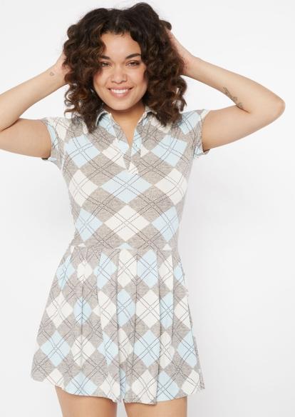 argyle print pleated polo mini dress - Main Image