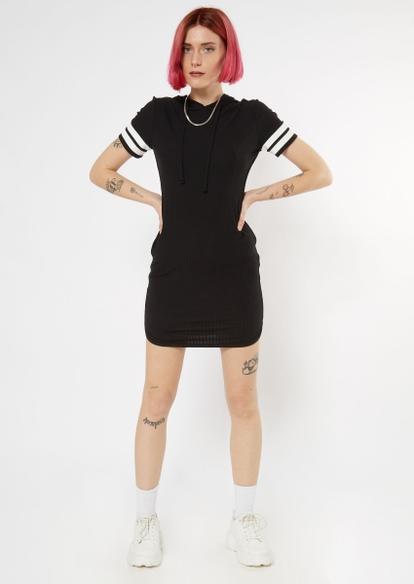 black ribbed varsity hoodie dress - Main Image