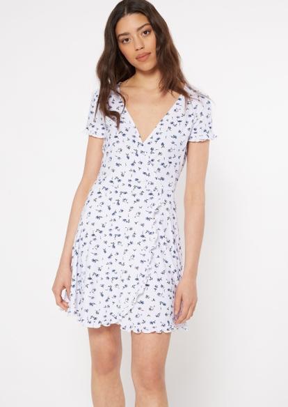 white floral print ruffled wrap mini dress - Main Image