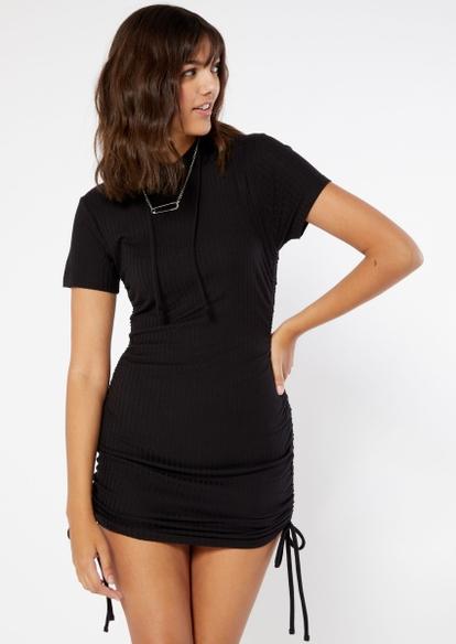 black drawstring ruched ribbed knit hoodie dress - Main Image