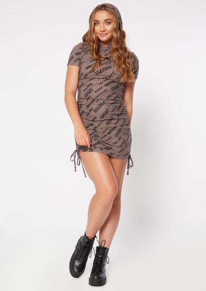 tan scripted print drawstring ruched hoodie dress - Main Image
