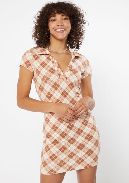 camel plaid print v neck polo dress - Main Image