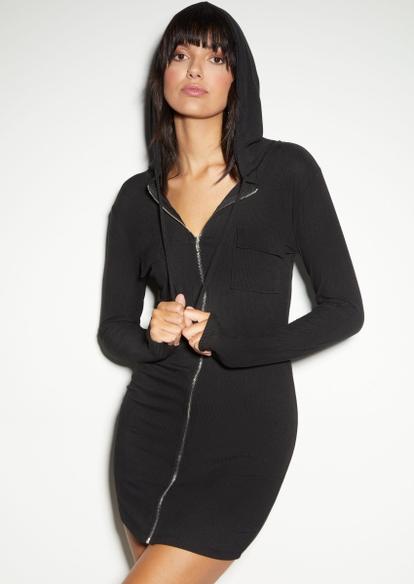 gray full zip utility hooded long sleeve dress - Main Image