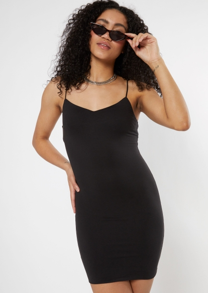 black super soft bodycon dress - Main Image