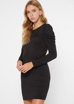 black super soft long puff sleeve dress - Main Image