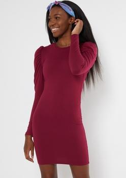 burgundy super soft long puff sleeve dress - Main Image