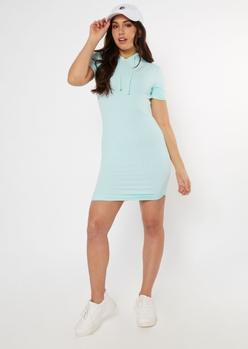mint scoop hem hooded dress - Main Image