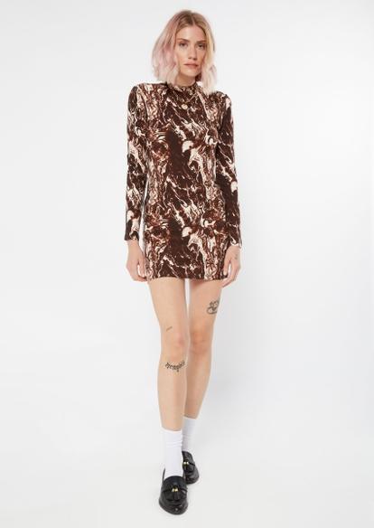 brown marble print super soft long sleeve mock neck mini dress - Main Image