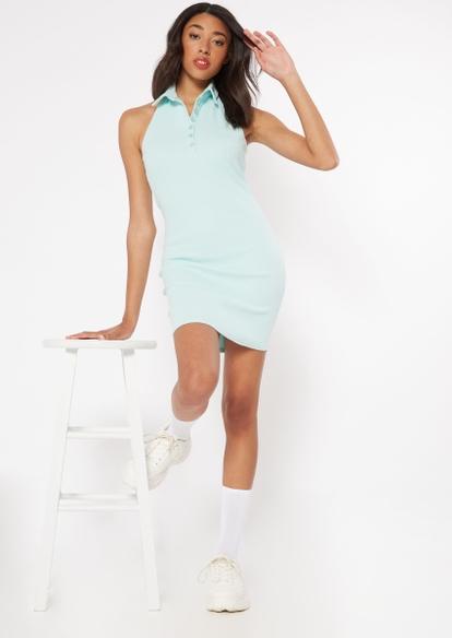 aqua polo halter dress - Main Image