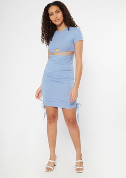 blue cutout ruched bodycon dress - Main Image