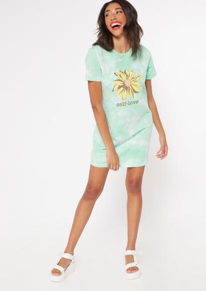 mint tie dye sunflower t-shirt dress - Main Image