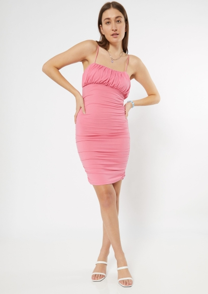 pink ruched bodycon dress - Main Image