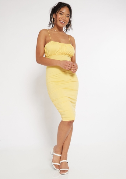 yellow ruched bodycon dress - Main Image