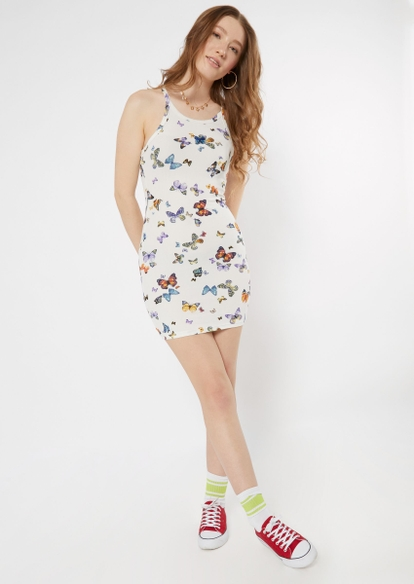 white embroidered butterfly print ribbed dress - Main Image