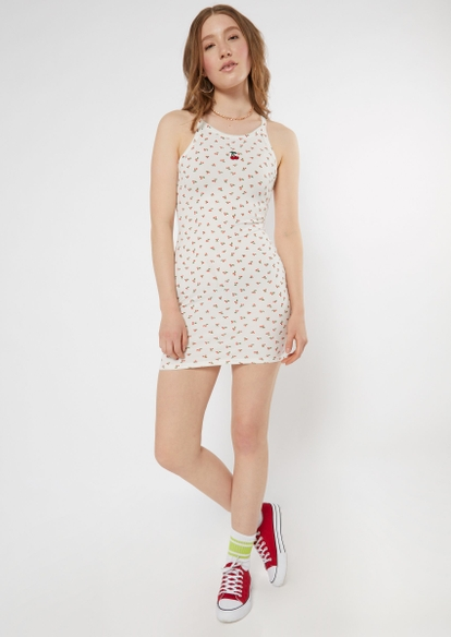 white embroidered cherry print ribbed dress - Main Image