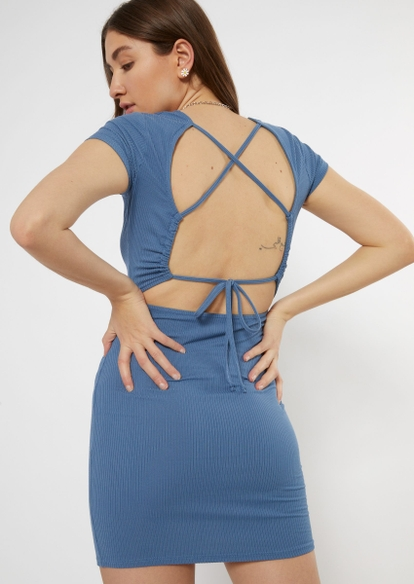 blue ribbed open lace up back bodycon dress - Main Image