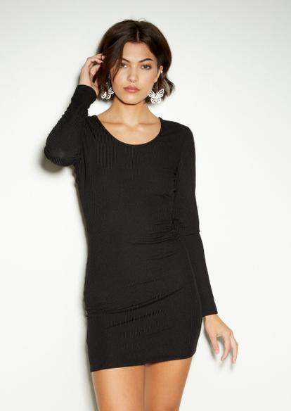 black open lace up back long sleeve mini dress - Main Image
