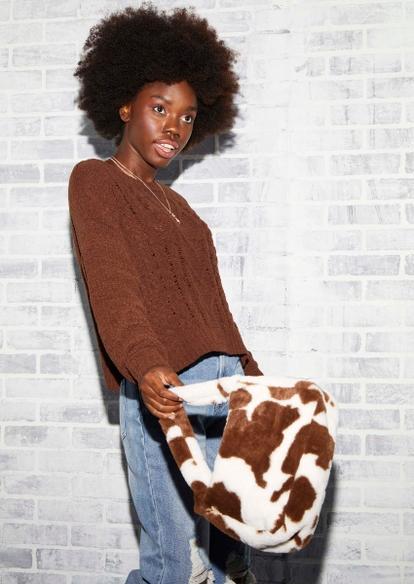 brown cow print faux fur handbag - Main Image