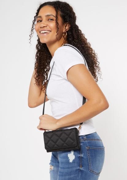 black quilted wallet bag - Main Image