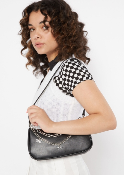 black faux leather silver butterfly chain handbag - Main Image
