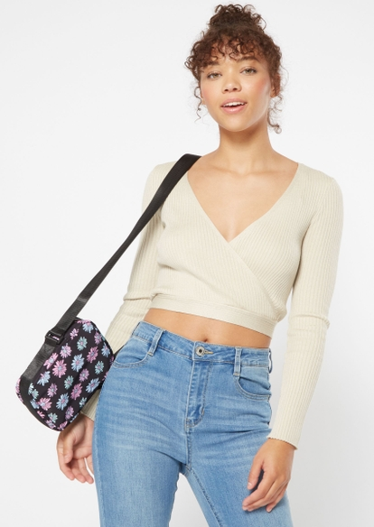 black multicolor daisy print crossbody bag - Main Image
