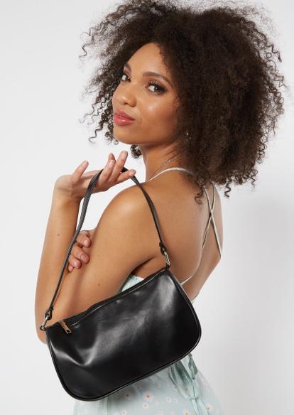black faux leather double strap handbag - Main Image
