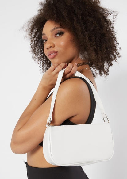 white faux leather double strap handbag - Main Image