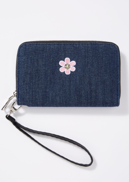 denim smiley face daisy embroidered wristlet - Main Image