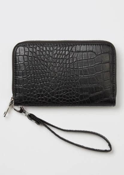black crocodile faux leather wallet - Main Image