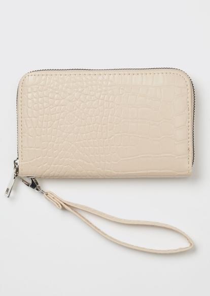 tan crocodile faux leather wallet - Main Image
