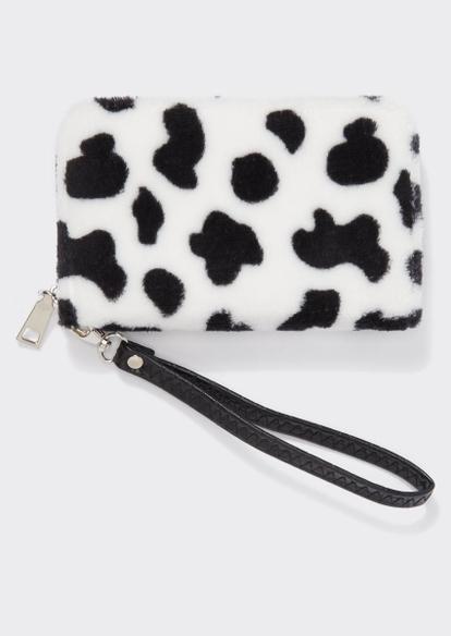 cow print faux fur wristlet - Main Image