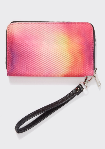 pink tie dye print mesh overlay wristlet - Main Image
