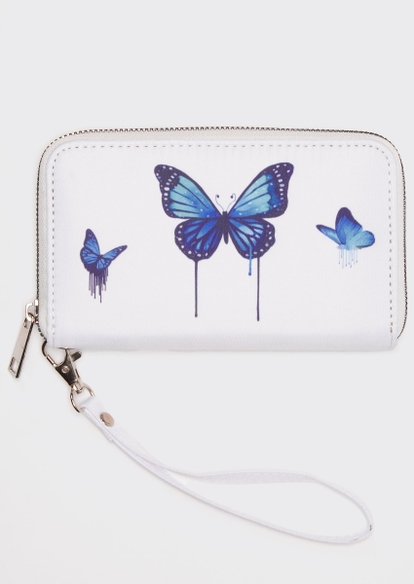 white drippy butterfly print wallet - Main Image