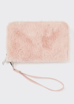 pink faux fur wristlet wallet - Main Image