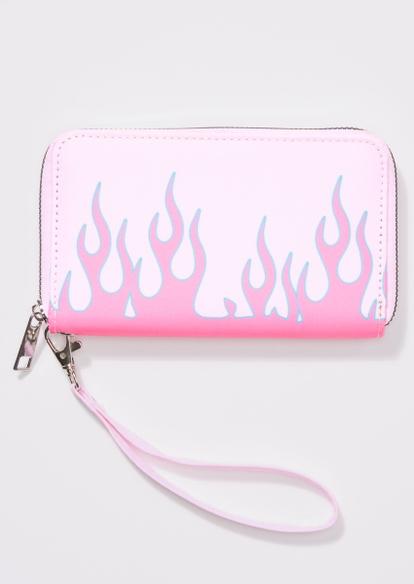 pink flame print wallet - Main Image