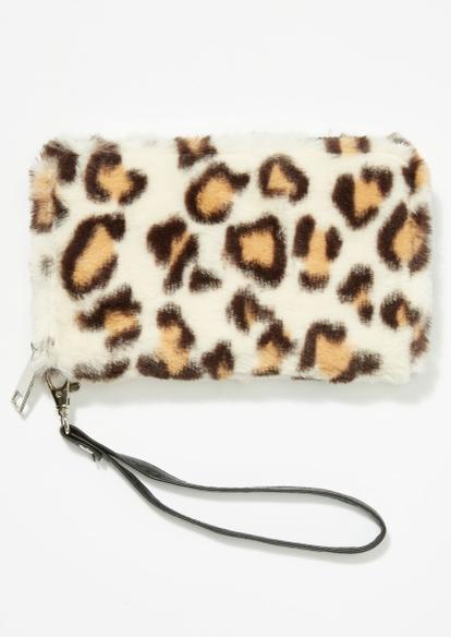 furry leopard print wallet - Main Image