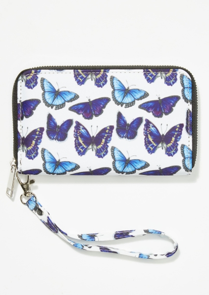 white allover butterfly print wallet - Main Image