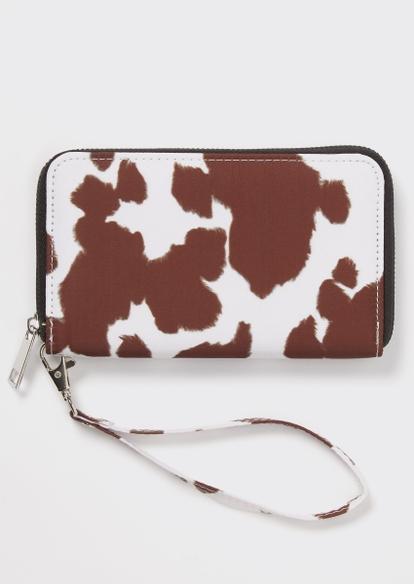 brown cow print wallet - Main Image