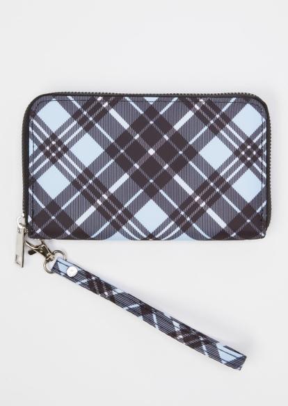 blue plaid print wallet - Main Image