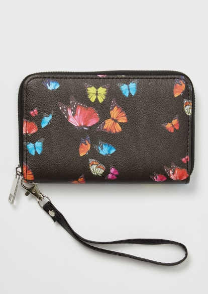 black butterfly print wallet - Main Image