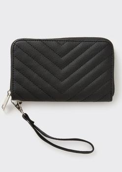 black chevron quilt wallet - Main Image