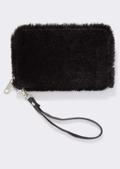 black faux fur wristlet - Main Image