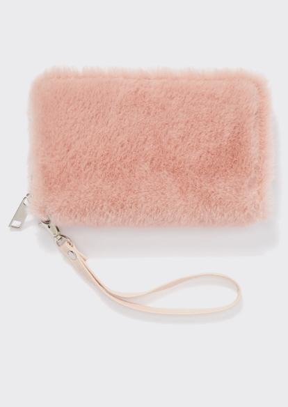 pink faux fur wristlet - Main Image