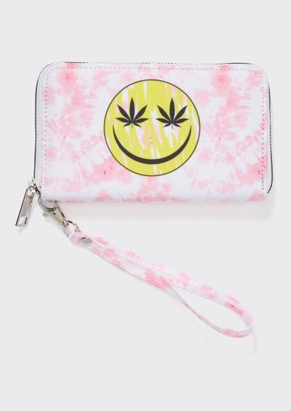 pink tie dye smiley face weed leaf wristlet - Main Image