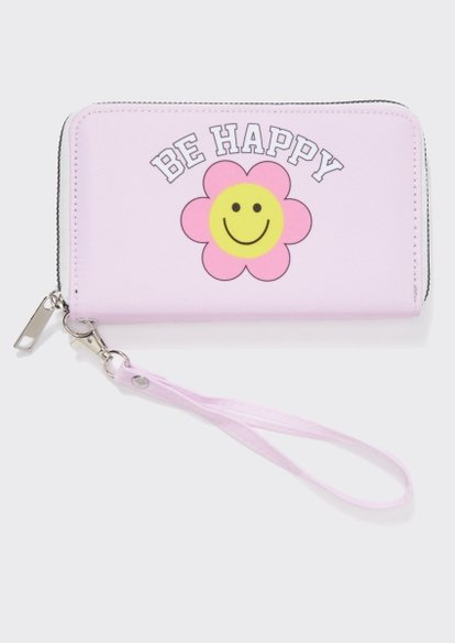 pink smiley face daisy be happy wristlet - Main Image