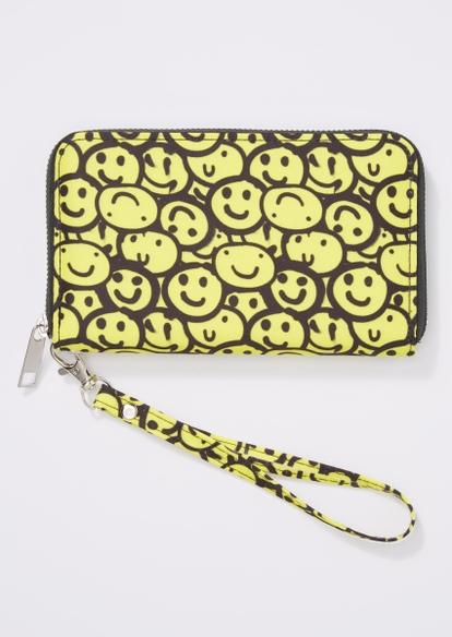 yellow smiley face print wallet - Main Image
