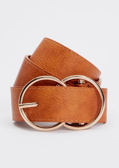 cognac gold double hoop belt - Main Image
