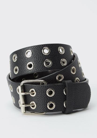 black faux leather grommet belt - Main Image