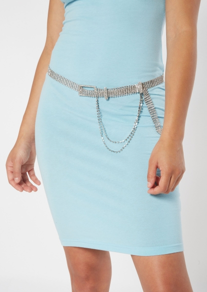 silver gemstone belt with chain - Main Image